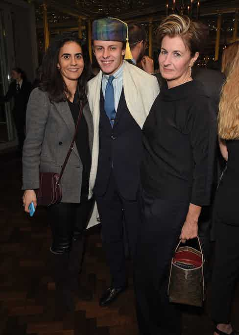 Zeina Dakak, Freddie Foulkes and Alexandra Foulkes at The Rake's 50th issue party at Hotel Café Royal on February 10, 2017 in London, England.