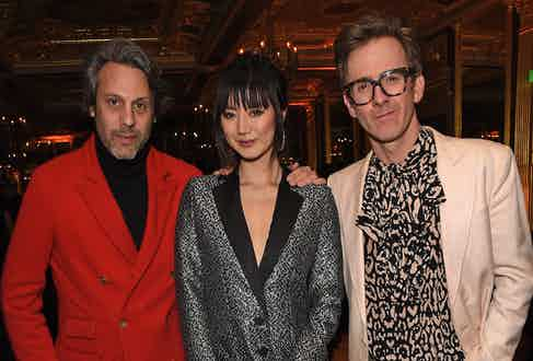 Francois Pourcher, Betty Bachz and Tom Stubbs at The Rake's 50th issue party at Hotel Café Royal on February 10, 2017 in London, England.
