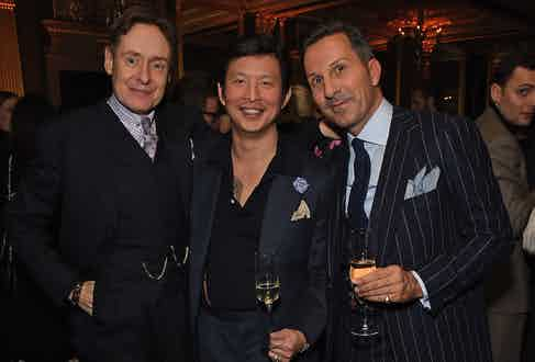 Nick Foulkes, Founder Wei Koh and Alexander Kraft at The Rake's 50th issue party at Hotel Café Royal on February 10, 2017 in London, England.