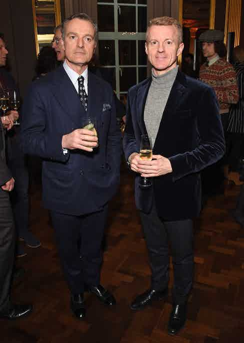 Douglas Cordeaux and Simon Maloney at The Rake's 50th issue party at Hotel Café Royal on February 10, 2017 in London, England.