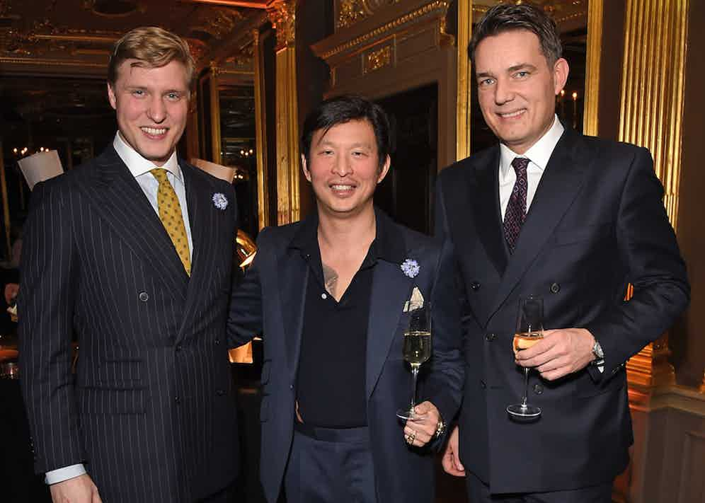 The Rake's Editor Tom Chamberlin, Founder Wei Koh and Thomas Kochs at The Rake's 50th issue party at Hotel Café Royal on February 10, 2017 in London, England.