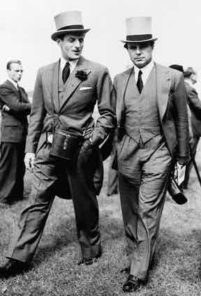Prince Aly Khan (right) and Baron Elie De Rothschild stroll for photographers at the races, at Chantilly, France. Photo by Anonymous/AP/REX/Shutterstock.