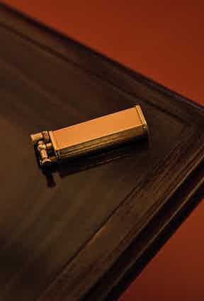 """An antique Dunhill lighter is perfect for the """"occasional cigar"""". Chris bought it because """"the style reminded me of something Oliver Tobias might carry in The Stud""""."""