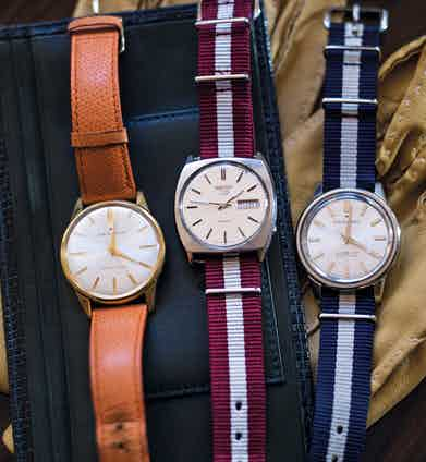 """Chris has a substantial collection of vintage Seiko watches: """"They're all 1960s pieces — good, clean designs. I find retro pieces less cluttered than contemporary models, and the smaller size also appeals."""""""