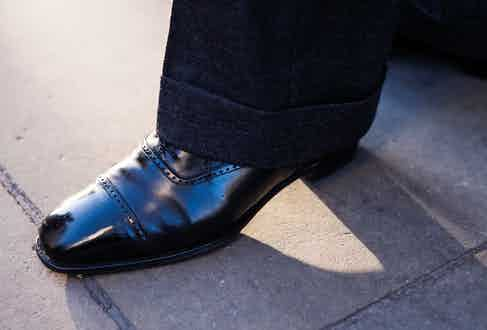 """Chris's semi-bespoke Peter brogues from G.J. Cleverley are firm favourites. According to Modoo, """"they fit superbly in the waist and have the perfect toe-shape""""."""