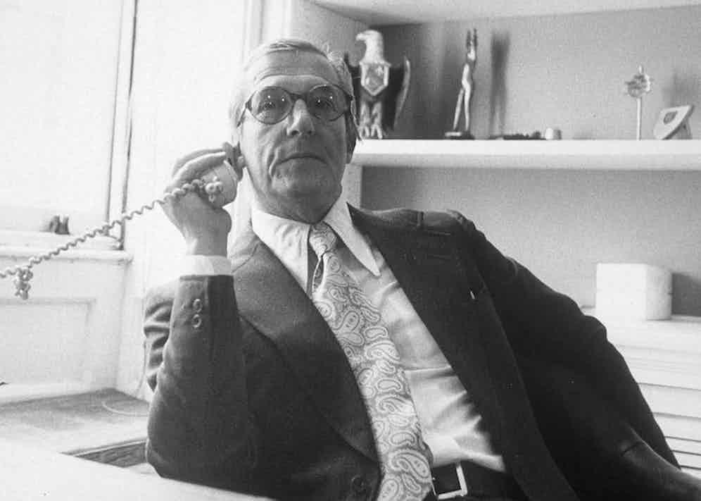 Hardy Amies, 1972. Photo by Crollalanza/REX/Shutterstock.