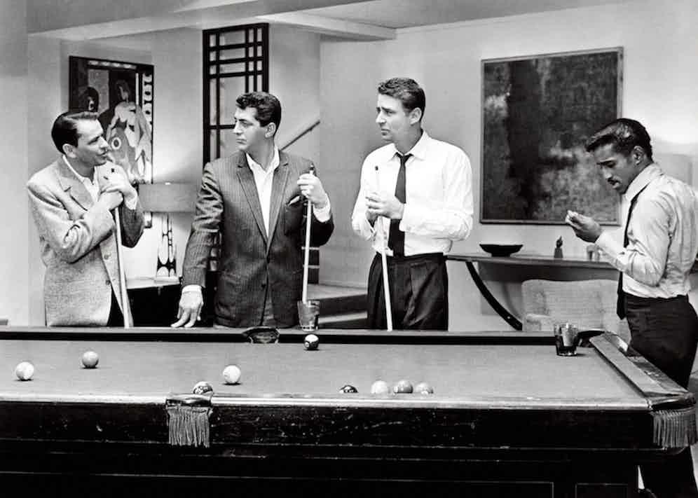 Frank Sinatra, Dean Martin, Peter Lawford and Sammy Davis Jr. in Ocean's Eleven, 1960.