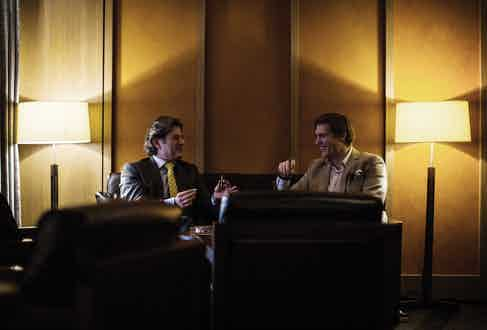 Eddie Sahakian and Editor of The Rake Tom Chamberlin enjoying a smoke in the sampling lounge.