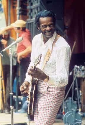 Chuck Berry circa 1987. Photo by Van Houten/Alamy.