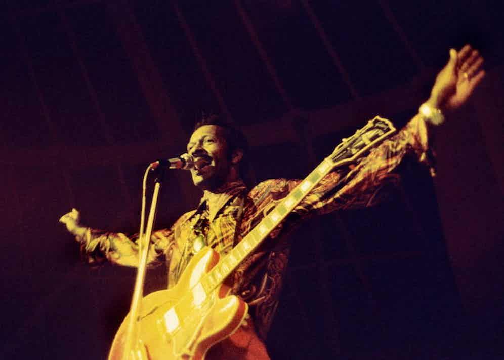 Chuck Berry in concert live at The Villette, 1972. Photo by Philippe Gras/Le Pictorium.