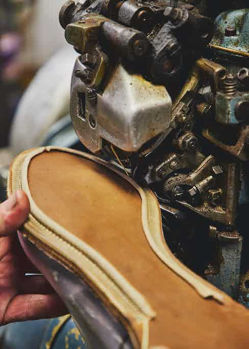 A close-up of the closed-channel stitching that leaves a clean and refined sole. Photo by James Munro.