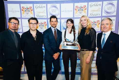 Silver Shears winner Jorden Barrett with judges Oliver Spencer, Joe Wright and David Gandy (left), Jodie Kidd and Bill Prince (right).