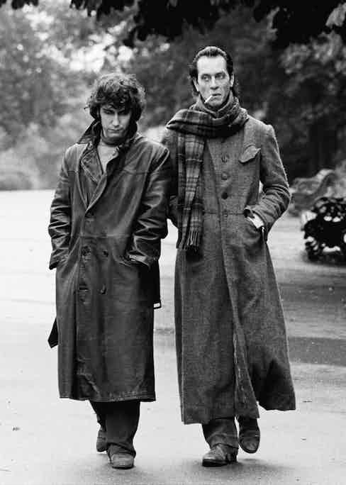 British actors Richard E. Grant and Paul McGann film the parting scene for the movie 'Withnail & I' in Regent's Park, London, 1986. Photo by Murray Close/Getty Images.