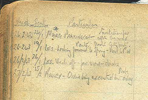 Entry in Imeson's diary from February 1943 recording an acknowledgement of the order from Rolex.