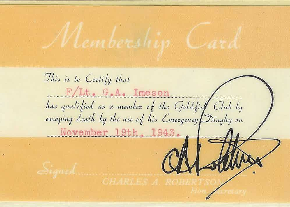 Imeson's 'Goldfish Club' membership card.