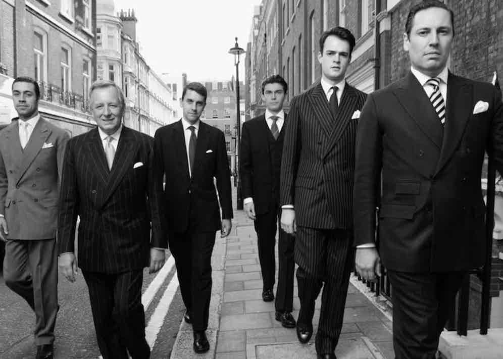The Anderson & Sheppard team from 2005: Karl Matthews, John Hitchcock, Colin Heywood, Oliver Spencer, James Whitfield and Leon Powell. Photograph by Uli Weber.