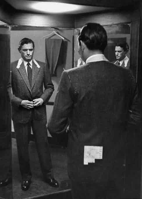 Gregory Peck wearing Huntsman for The Man in the Gray Flannel Suit, 1956.