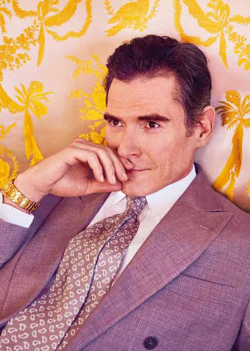 Mink brown double-breasted linen jacket, Brunello Cucinelli; white linen shirt, Anderson & Sheppard Haberdashery; taupe and white paisley print silk tie, Emma Willis; yellow gold Royal Oak extra thin timepiece, Audemars Piguet.