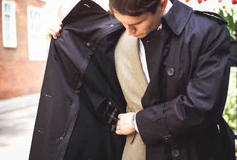 Windsor Jacket, Grenfell; single-breasted jacket, Gieves & Hawkes; white shirt, Private White; grey trousers, Belstaff; socks, Pantherella; shoes by Crockett & Jones; belt, watch, sunglasses and ring property of the stylist.