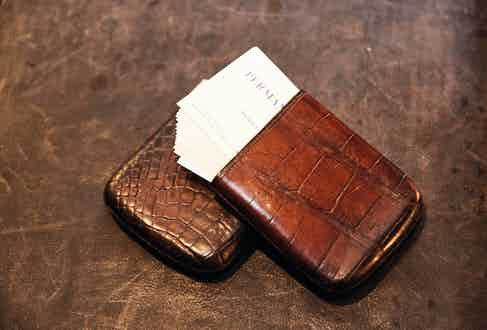 In the world of quiet luxury, this unbranded crocodile-leather visiting card case with a silver collar from Bentleys Antiques is a fantastic find.