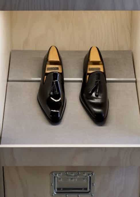 Classic patent black loafers.