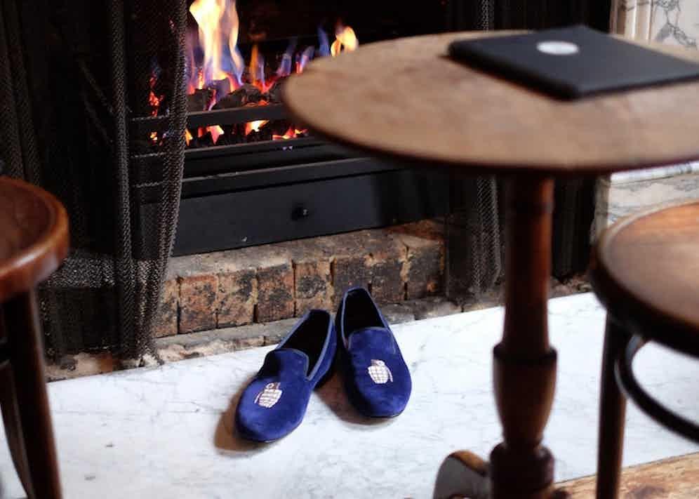 Velvet slippers by Crockett & Jones.