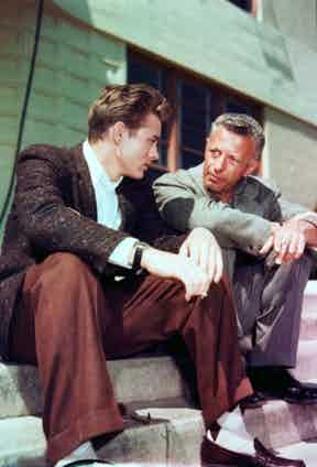 James Dean and Nick Ray on the set of Rebel Without A Cause. Courtesy Photofest/Film Forum.