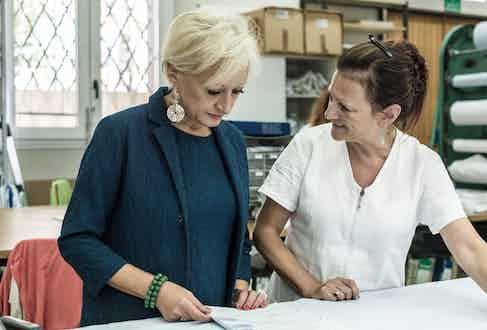 Manuela Vignudelli in Marol's workshop.