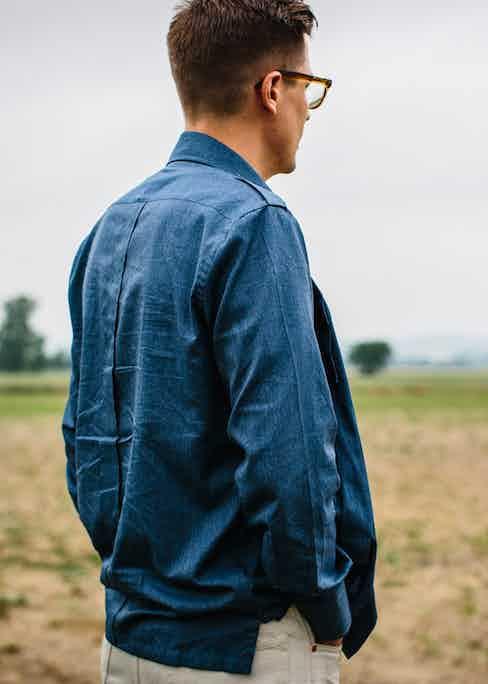 Marol's denim safari shirt can be worn as a lightweight jacket. Photo by Jamie Ferguson.