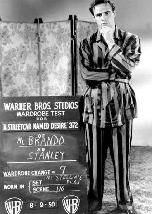 Marlon Brando on set for A Streetcar Named Desire, 1951.