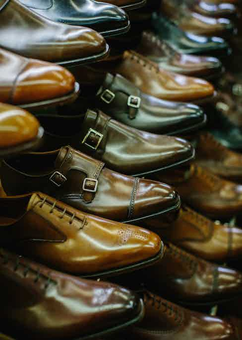 Shoes on display in the Crockett & Jones showroom in Northampton, England.