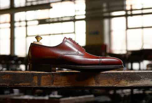 The Westfield brogue in tan pebble grain leather.