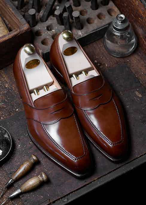 The Kingston loafer in tan antique calf leather.