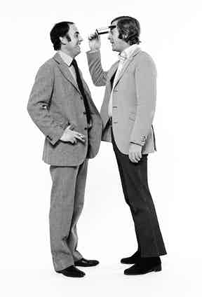 British tailor Doug Hayward and film actor Michael Caine on 7th October 1971. Photo by Lichfield/Getty Images.