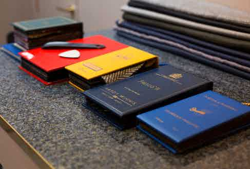Fabrics swatches for English Cut's bespoke and top-tier made-to-measure service.