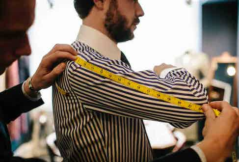 A bespoke Turnbull & Asser shirt being fitted, photo by Jamie Ferguson.