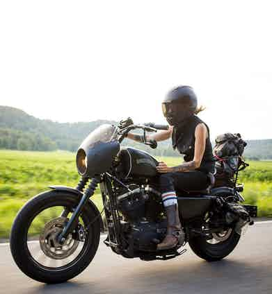 Leticia Cline on her Harley Davidson Sportster. Photographed by Josh Kurpius.