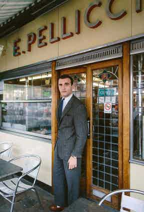 Outside Pellicci's, where the Kray Twins were regular customers and Legends was filmed.
