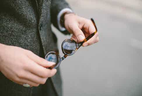 """""""Black Eyewear makes these amazing glasses inspired by the jazz era and names each model after a jazz star – these are the Coltranes. Not too many people know about them so they still have that secret quality,"""" says James of his eyewear. """"I always go for tortoiseshell sunglasses."""""""