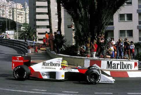 Ayrton Senna driving in the Monaco Grand Prix, 1989.