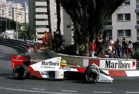 Ayrton Senna driving in the Monaco Grand Prix, 1989.