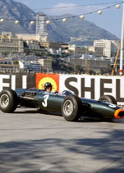 Graham Hill in a BRM P261 at the Monaco Grand Prix, 30 May 1965. Photo by Alamy.