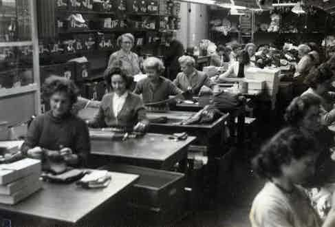 Workers in Pantherella's factory, formerly known as Midland Hosiery Mills Ltd.