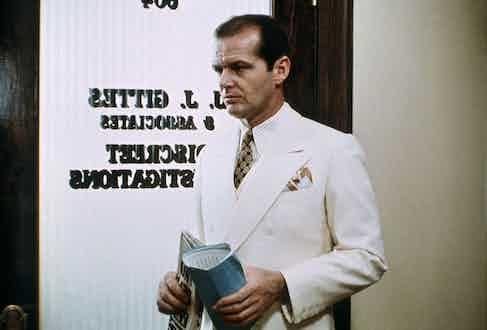 Jack Nicholson in Chinatown, 1974. Photo by Alamy.