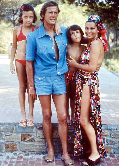 Roger Moore and his family, 1973. Photo by REX/Shutterstock.