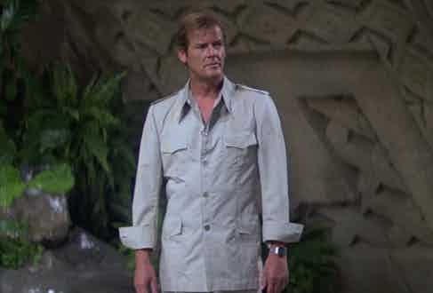 Roger Moore displaying his next-level safari game, deploying the louche turn-back cuff technique in Moonraker, 1979.