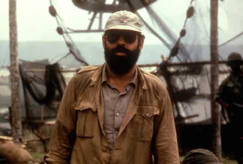 Francis Ford Coppola looking like an extra on the set of his movie, Apocalypse Now in 1979.