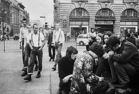 A group of skinheads at Piccadilly Circus, 1969. Photo by Terence Spencer/The LIFE Picture Collection/Getty Images.