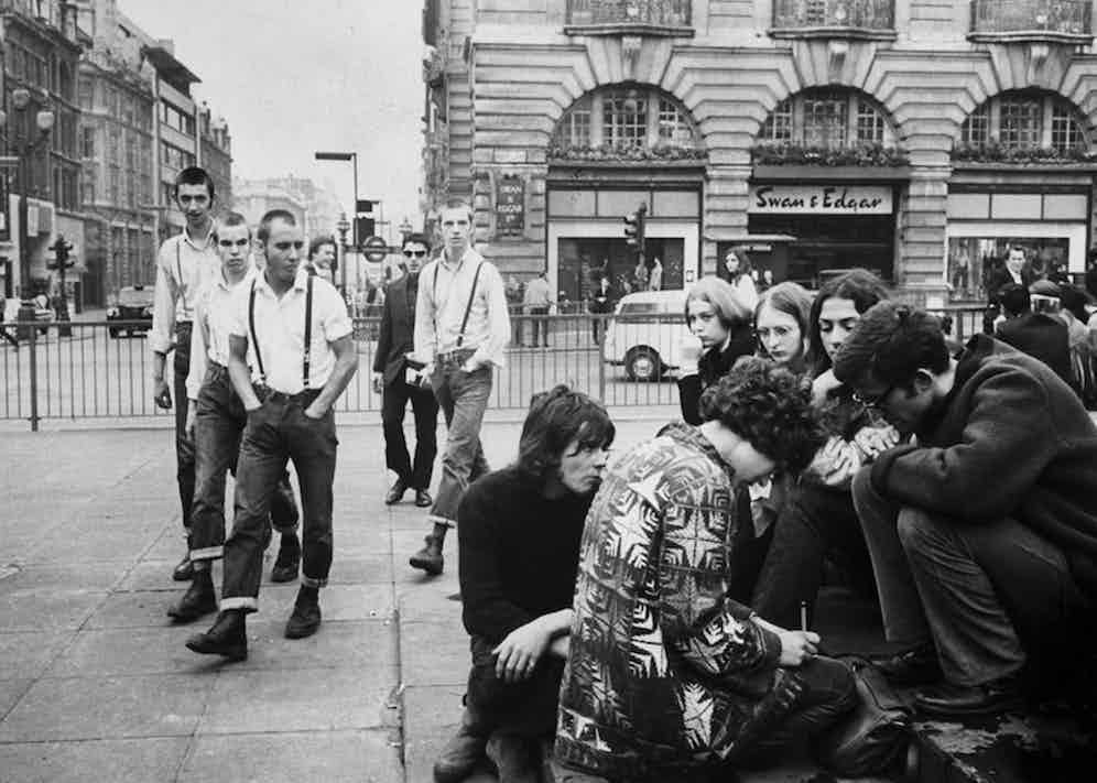 A group of skinheads at Picadilly Circus, 1969. Photo by Terence Spencer/The LIFE Picture Collection/Getty Images.