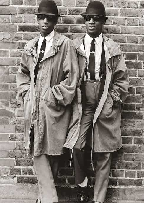 Chaka and Dubem, twins from Islington, north London, in 1979.